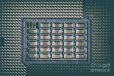 Mother Board Photograph - Cpu Socket On Computer Motherboard by Radu Bercan