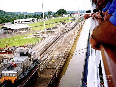 Photograph - Cruise Ship Pulled Into Panama Canal Lock by Merton Allen