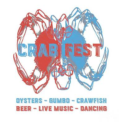 Digital Art - Crab Fest Tee by Edward Fielding