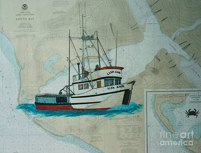 Chart Painting - Crab Fish Boat Lisa Ann Nautical Chart Map by Cathy Peek
