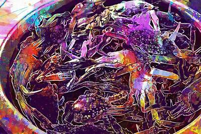 Digital Art - Crab Food Dinner Lunch Seafood  by PixBreak Art