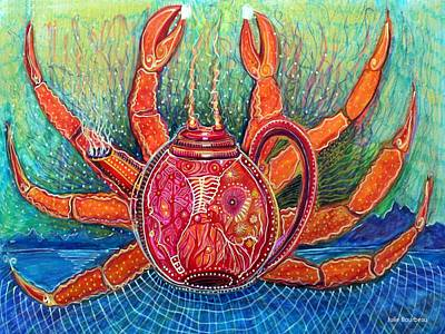 Net Painting - Crab Pot by Julie Bourbeau