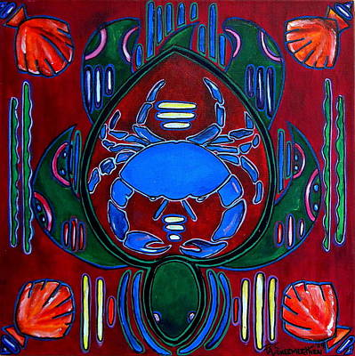 Painting - Crab Turtle Mola by Patti Schermerhorn