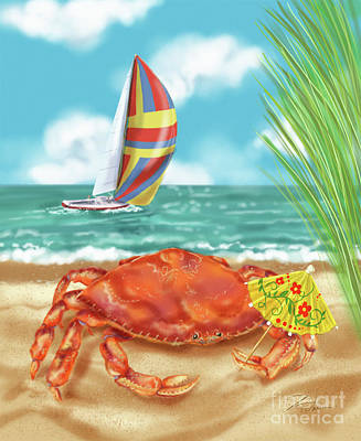 Mixed Media - Crab With Cocktail Umbrella by Shari Warren