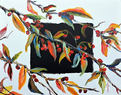 Painting - Crabapple Branches With Black by Jodie Marie Anne Richardson Traugott          aka jm-ART