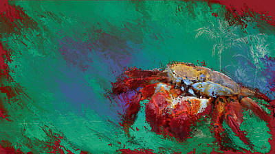 Blue Crab Mixed Media - Crabby by Marci Potts
