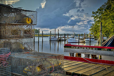 Crabpots And Fishing Boats Art Print by Williams-Cairns Photography LLC