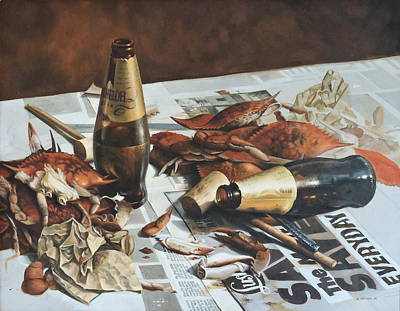 Painting - Crabs And Beer by William Albanese Sr