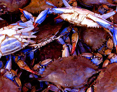 Art Print featuring the digital art Crabs At The Market by Timothy Bulone