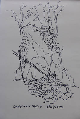 Drawing - Crabtree Falls - A Sketch by Joel Deutsch