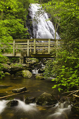 Blur Photograph - Crabtree Falls And Bridge by Andrew Soundarajan