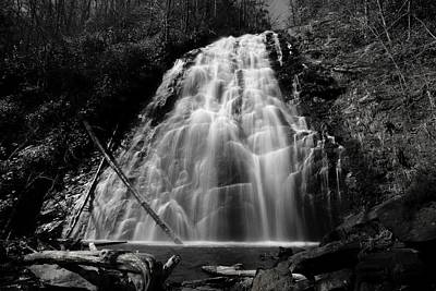 Crabtree Falls In Black And White Art Print by Carol R Montoya