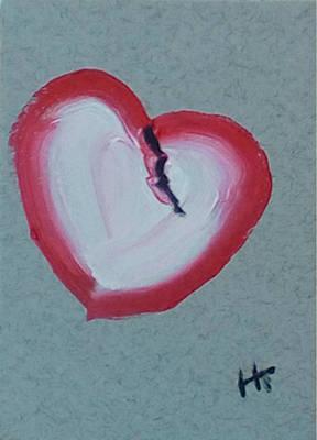 Wall Art - Painting - Crack In A Heart Of Stone by Helen Krummenacker
