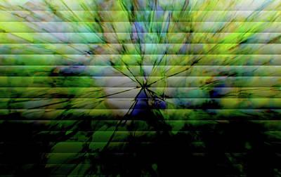 Cracked Abstract Green Art Print by Carol Crisafi