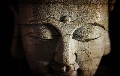 Photograph - Cracked Face Of Buddha by Ray Van Gundy