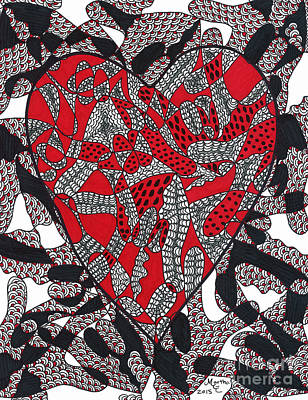 Asl Drawing - Cracked Heart by Martha Cuzzolino