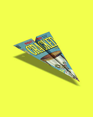109 Cracked Mad Paper Airplane Art Print