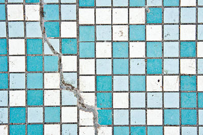 Broken Tiles Photograph - Cracked Tiled Surface by Tom Gowanlock