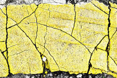 Asphalt Photograph - Cracked Yellow Paint by Tom Gowanlock