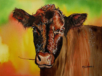 Colorful Cows Painting - Cracker Moo by Maria Barry