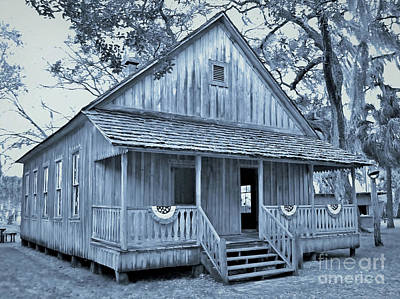 Photograph - Cracker School House Cyan by D Hackett