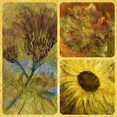 Crackled Floral Art Print by Carol Rowland