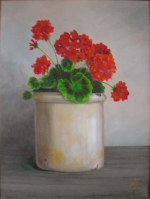 Painting - Crackpot Geraniums by Jean LeBaron
