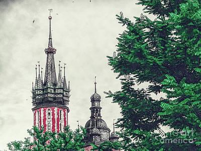 Watercolor Digital Art - Cracow Church Art by Justyna JBJart