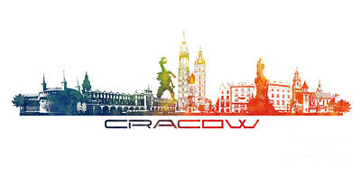 Watercolor Digital Art - Cracow City Skyline Color by Justyna JBJart