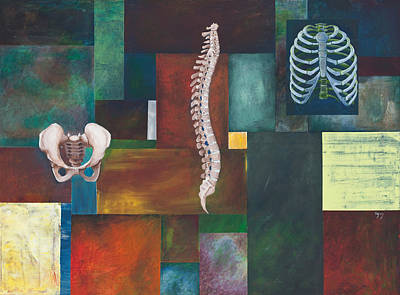 Osteopath Painting - Cradle Column Cage by Sara Young