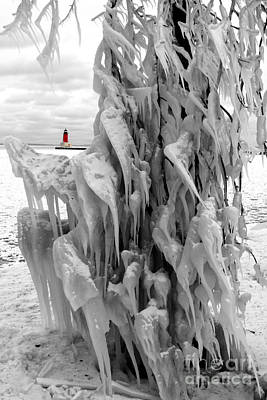 Photograph - Cradled In Ice - Menominee North Pier Lighthouse by Mark J Seefeldt