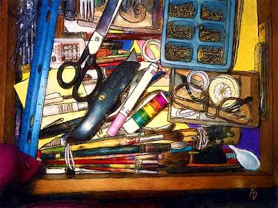 Digital Art - Craft Drawer Clutter by Ric Darrell