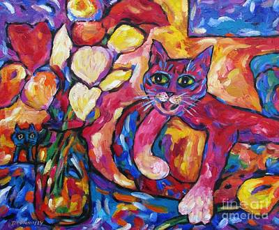 Painting - Crafty Crimson Cat On Couch by Dianne  Connolly