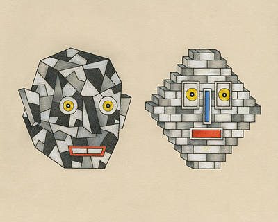 Mascot Drawing - Crag Man And Brick Head by Matt Leines