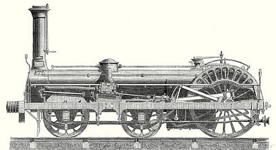 Nineteenth Century Drawing - Crampton Locomotive by English School
