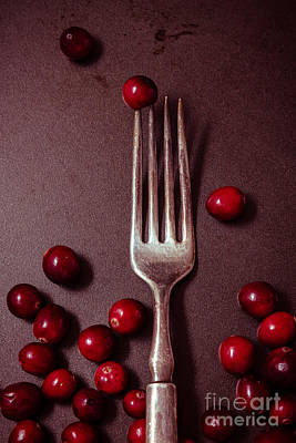 Cranberries And Fork Art Print by Ana V Ramirez