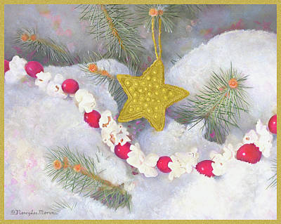 Painting - Cranberry Garland With Gold Christmas Star by Nancy Lee Moran
