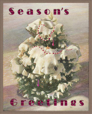 Painting - Cranberry Garlands Christmas Blue Spruce by Nancy Lee Moran