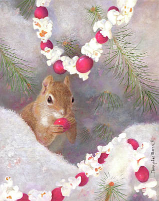 Painting - Cranberry Garlands Christmas Squirrel by Nancy Lee Moran