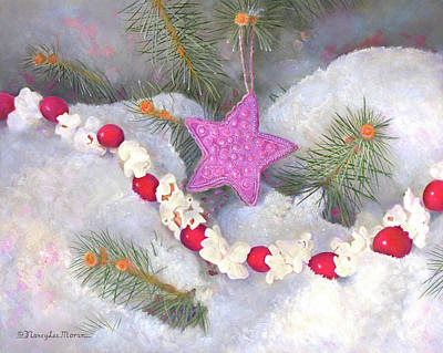 Painting - Cranberry Garlands Christmas Star In Orchid by Nancy Lee Moran