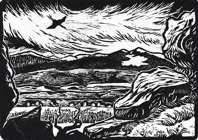 Drawing - Crane Flying Past The Cedar Breaks by Dawn Senior-Trask