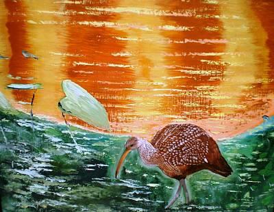 Crane Hunting Minnows Art Print by Francis Roberts ll