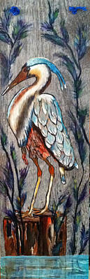 Ceramic Art Tile Painting - Crane On Tile by Dale Carr