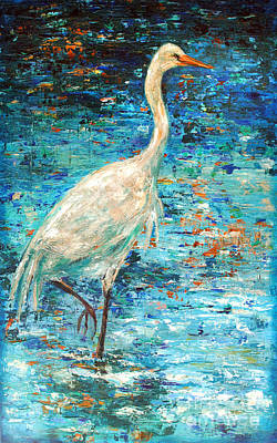 Crane Reflection Art Print by Linda Olsen