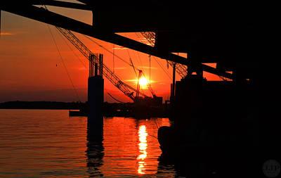 Clarks Hill Lake Pyrography - Crane Sunset by Joseph Johns