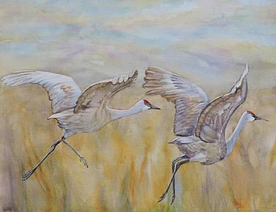 Lilla Painting - Cranes Alight by Vicky Lilla