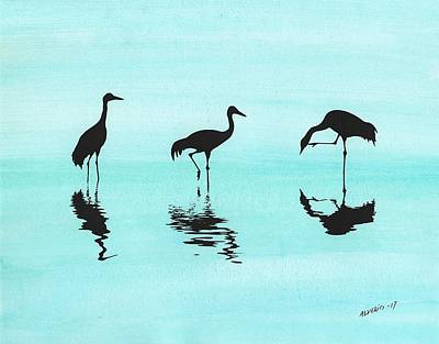 Painting - Cranes by Edwin Alverio