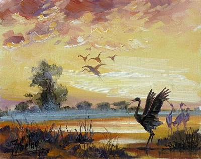 Sunset Painting - Cranes - Evening Flight by Irek Szelag
