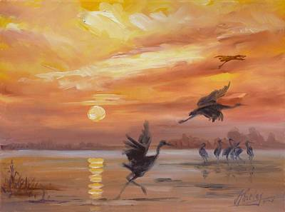 Sunset Painting - Cranes - Golden Sunset by Irek Szelag