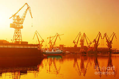 Photograph - Cranes In Historical Shipyard In Gdansk by Michal Bednarek